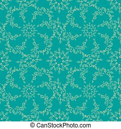Seamless leaves pattern on blue green background