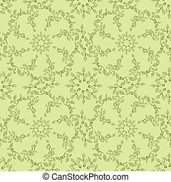 Seamless leaves pattern on green background