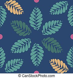seamless leaves pattern with blue background