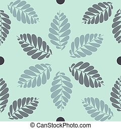seamless leaves pattern with grey background