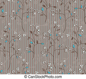 Floral seamless pattern of branches with flowers and turquoise leaves. EPS 10 vector illustration