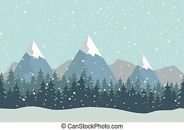 seamless, lejlighed, vinter, vektor, landskab, hos, silhuetter, i, træer, og, bjerge.