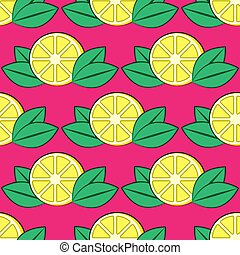 seamless lemon pattern with leaves on a pink background. Vector image