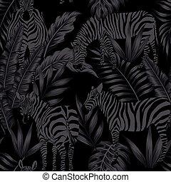 seamless, liście, czarnoskóry, styl, zebra