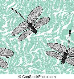 seamless, libélula, aislado, alto, calidad