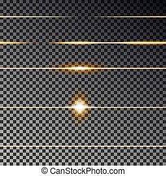 seamless., licht, vuurpijl, lijnen, effect, gele, vector., collection., lijn, verdeler, transparant