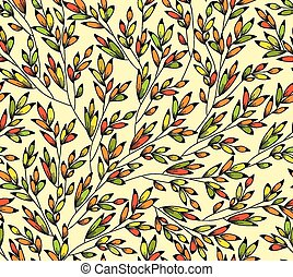 seamless, light, bright background with colorful leaves