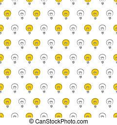 Seamless light bulbs vector pattern