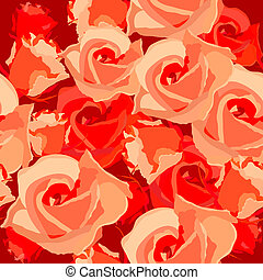 Seamless light romantic pattern with red roses