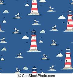 seamless lighthouse pattern