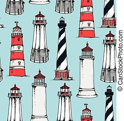Seamless lighthouses pattern
