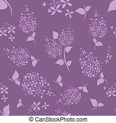 Seamless lilac flowers pattern on purple background.