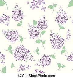 Seamless lilac flowers pattern on white background.