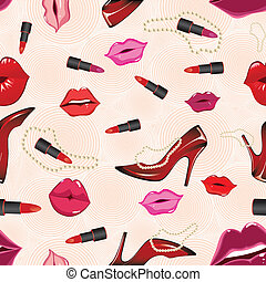 Seamless lip gloss background. Shoe vector, lipstick. Party...