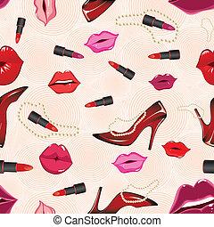 Seamless lip gloss background. Shoe vector, lipstick. Party fashion pattern, illustration. Glamour wallpaper