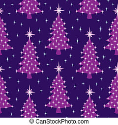 Seamless Lit Trees at Night Pattern - A seamless pattern of...