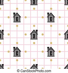 seamless little house with gold dot glitter pattern background