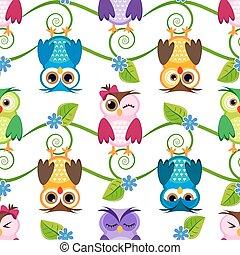 Seamless little owls background pattern pastels illustration...
