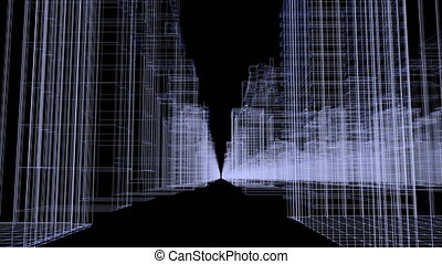 Seamless loop abstract hologram 3D render city concept rendering with futuristic white and blue matrix. Digital buildings with particles network.