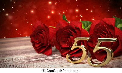seamless loop birthday background with red roses on wooden desk. fiftyfifth birthday. 55th. 3D render