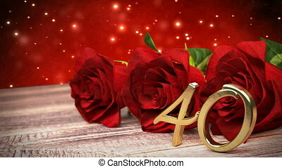 seamless loop birthday background with red roses on wooden desk. fortieth birthday. 40th. 3D render
