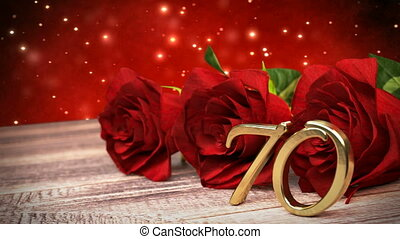 seamless loop birthday background with red roses on wooden desk. seventieth birthday. 70th. 3D render
