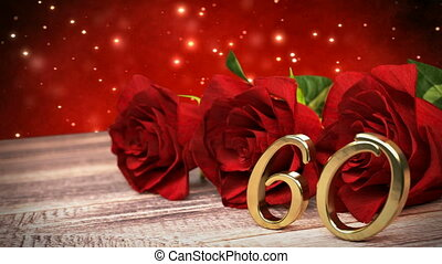 seamless loop birthday background with red roses on wooden desk. sixtieth birthday. 60th. 3D render