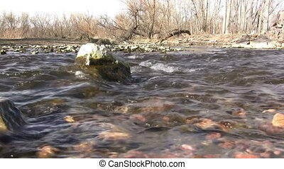 (Seamless Loop) Early Spring Barren - A river running...
