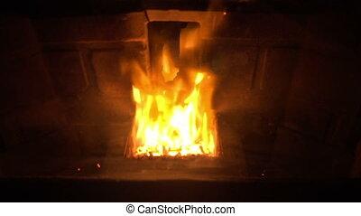 (Seamless Loop) Glowing Fireplace