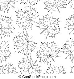 Seamless loop maple leaf on a white background. Pattern...