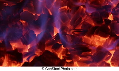 Seamless loop of ember in fireplace - Perfect loop of ember...