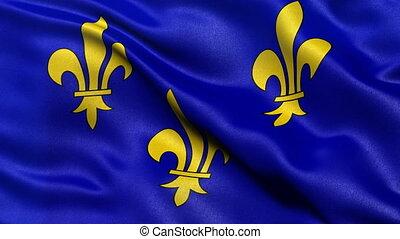 Seamless loop of Ile-de-France flag