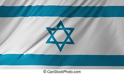 Seamless loop of Israel flag waving in the wind with highly detailed fabric texture
