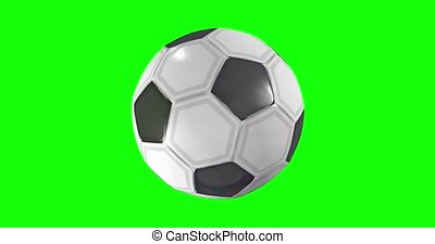 Seamless loop of soccer ball in black and white color with leather texture rotating 360 degrees on chroma key green background. 3D Animation