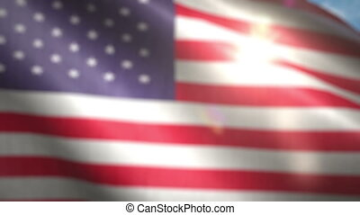 Seamless loop of the American flag with a flickering sun...