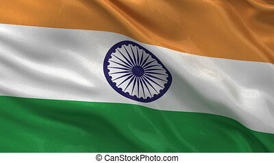 Seamless loop of the Indian flag waving in the wind
