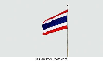 Seamless Loop of the Thai National Flag Flapping in the...