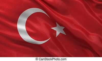 Seamless loop of the Turkish Flag - Flag of Turkey waving in...