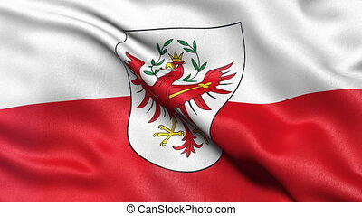 Seamless loop of Tyrol state flag in Austria waving in the...