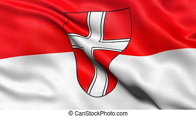 Seamless loop of Vienna state flag in Austria waving in the...