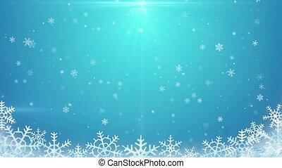 seamless loop snowfall on blue background