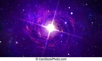 Seamless loop space flight into star field of Carina Nebula galaxy with center glowing and rotating star.