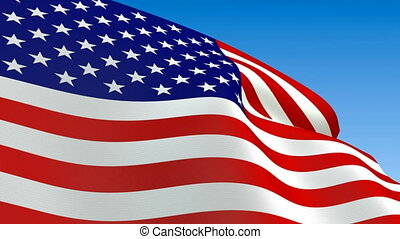 Seamless loop waving USA flag