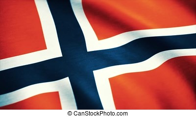 Seamless Loopable Flag of Norway. Flag of Norway waving in the wind - highly detailed fabric texture - seamless looping