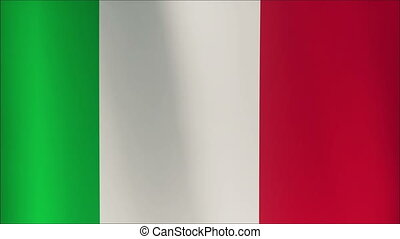 Seamless looping 3D rendering closeup of the flag of Italy.  Flag has a detailed realistic fabric texture and an accurate design and colors.