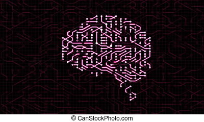 Seamless looping animation of a brain circuit board.