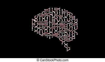 Seamless looping animation of a brain circuit board.