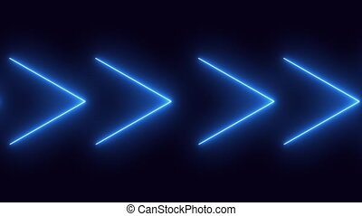 Seamless looping animation of neon arrows flow across the ...