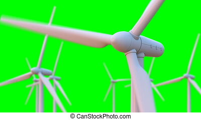 Seamless looping animation of wind turbines spinning. 3D...
