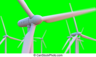 Seamless looping animation of wind turbines spinning. 3D ...